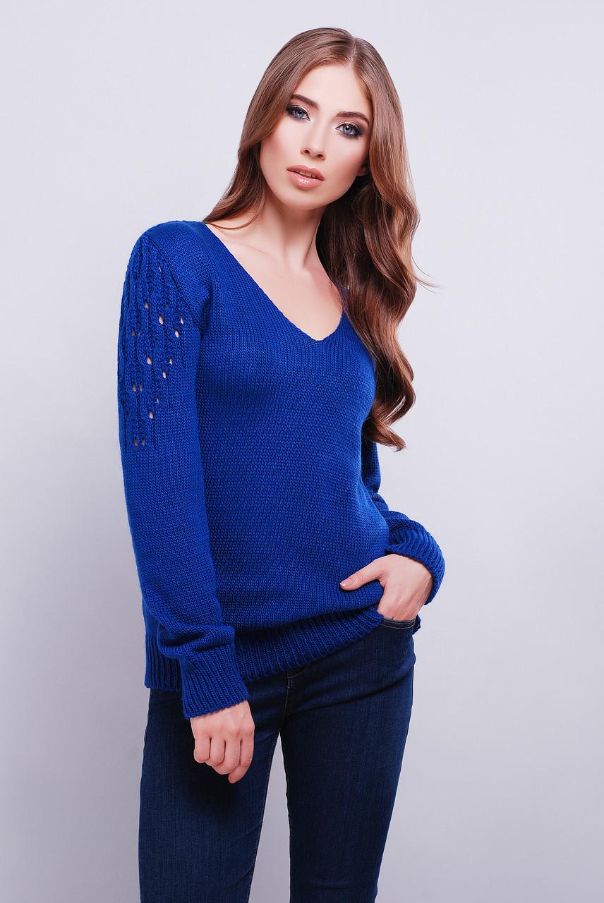 женский вязаный свитер с V образным вырезом 42 46 фиолетовый