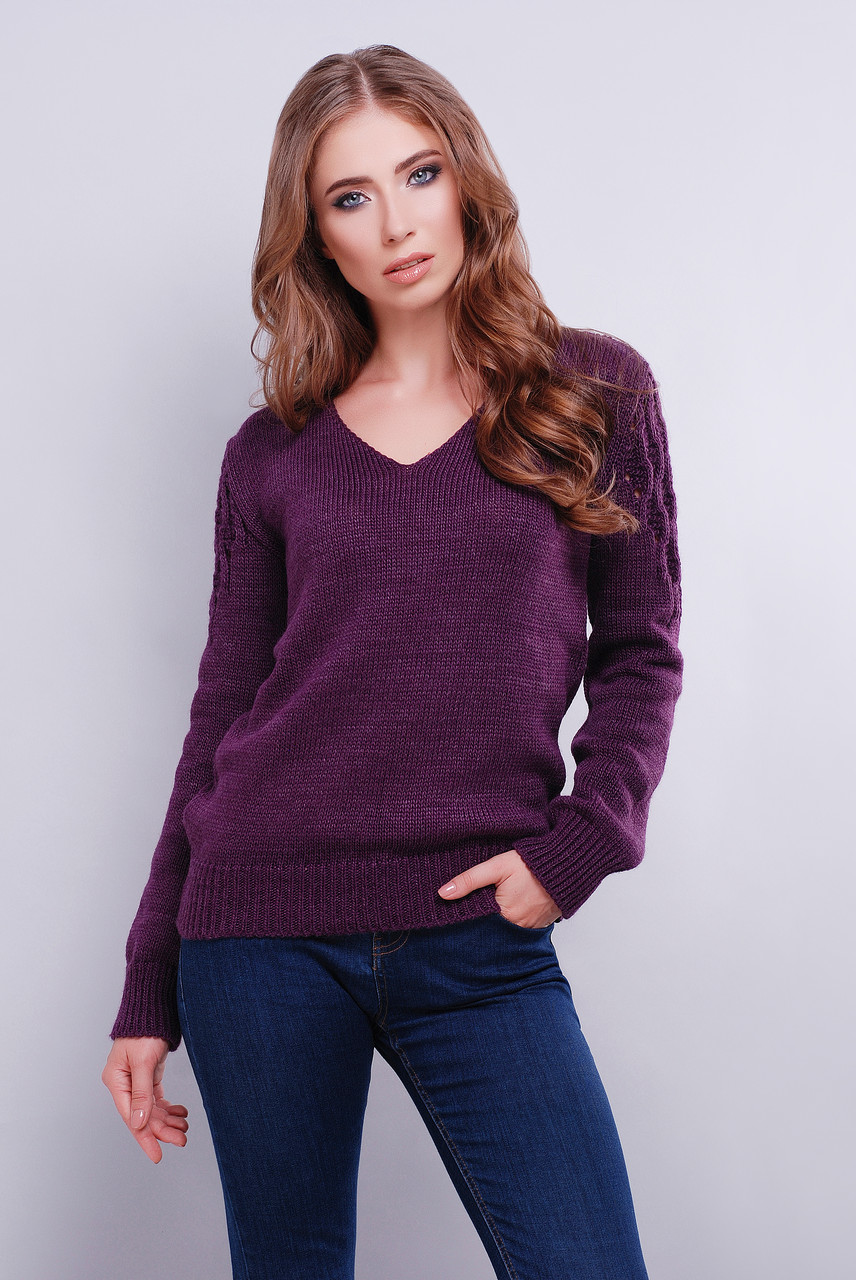 женский вязаный свитер с V образным вырезом 42 46 фиолетовый цена