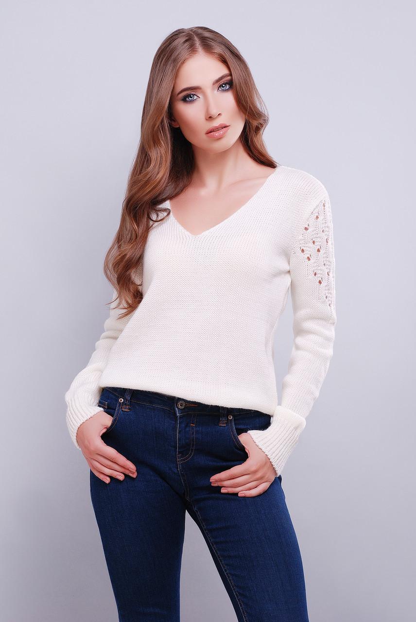 красивый вязаный свитер с V образным вырезом 42 46 белый цена 305