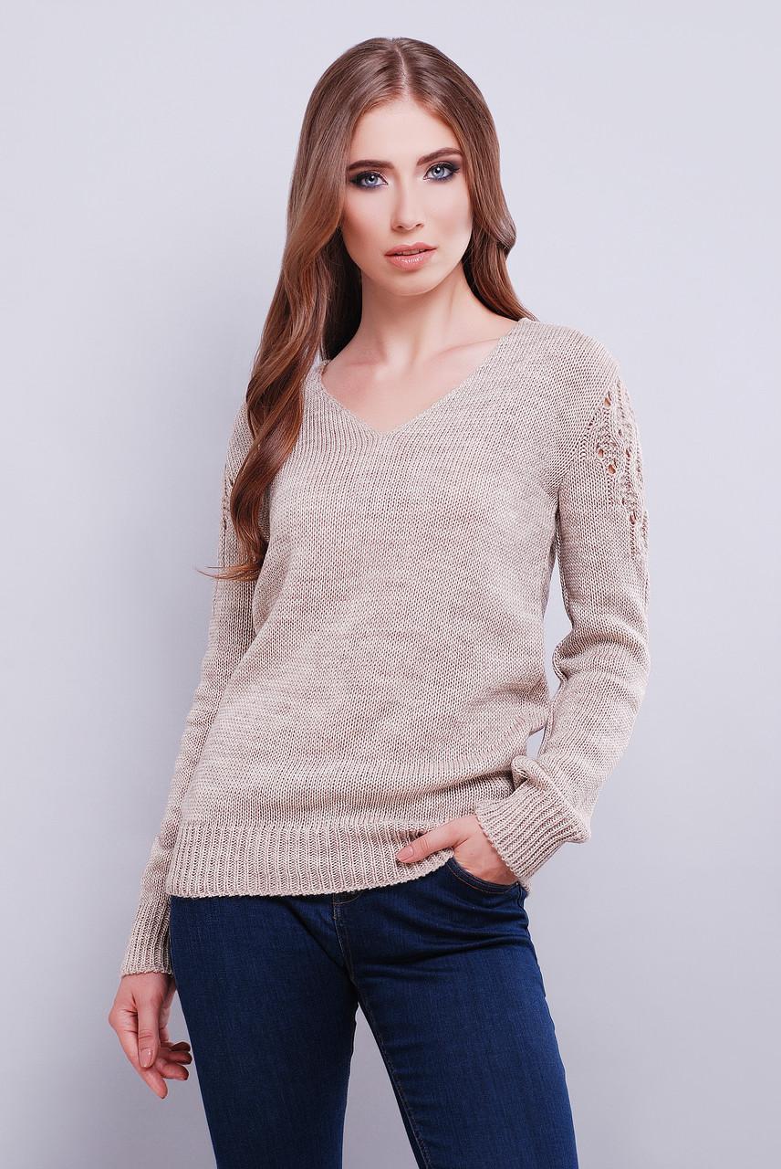 стильный женский вязаный свитер с V образным вырезом 42 46 розовый