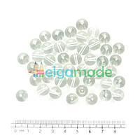 Бусины стеклянные круглые 10 мм, 50 г, ПРОЗРАЧНЫЕ, Crystal Art