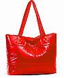 Стеганная глянцевая дутая сумка , фото 4