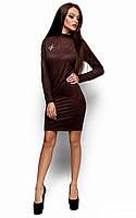 Женское замшевое платье, шоколад, р.44-48*
