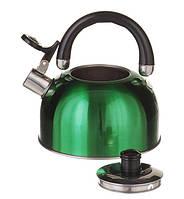 Чайник на плиту 2,5л Зеленый глянцевый(1329)