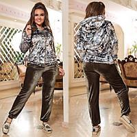 Женский спортивный костюм  (48-50, 52-54, 56-58) —  бархат от компании Discounter.top