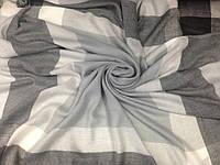 Большой тёплый платок-шаль из шерсти ламы в клетку 150см