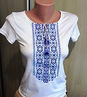 Футболка женская с синей вышивкой  8