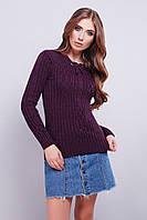 Женский вязаный свитер с рисунком по ткани 42-46 фиолетовый