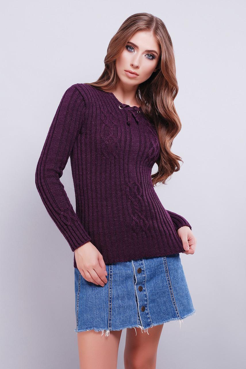 женский вязаный свитер с рисунком по ткани 42 46 фиолетовый цена