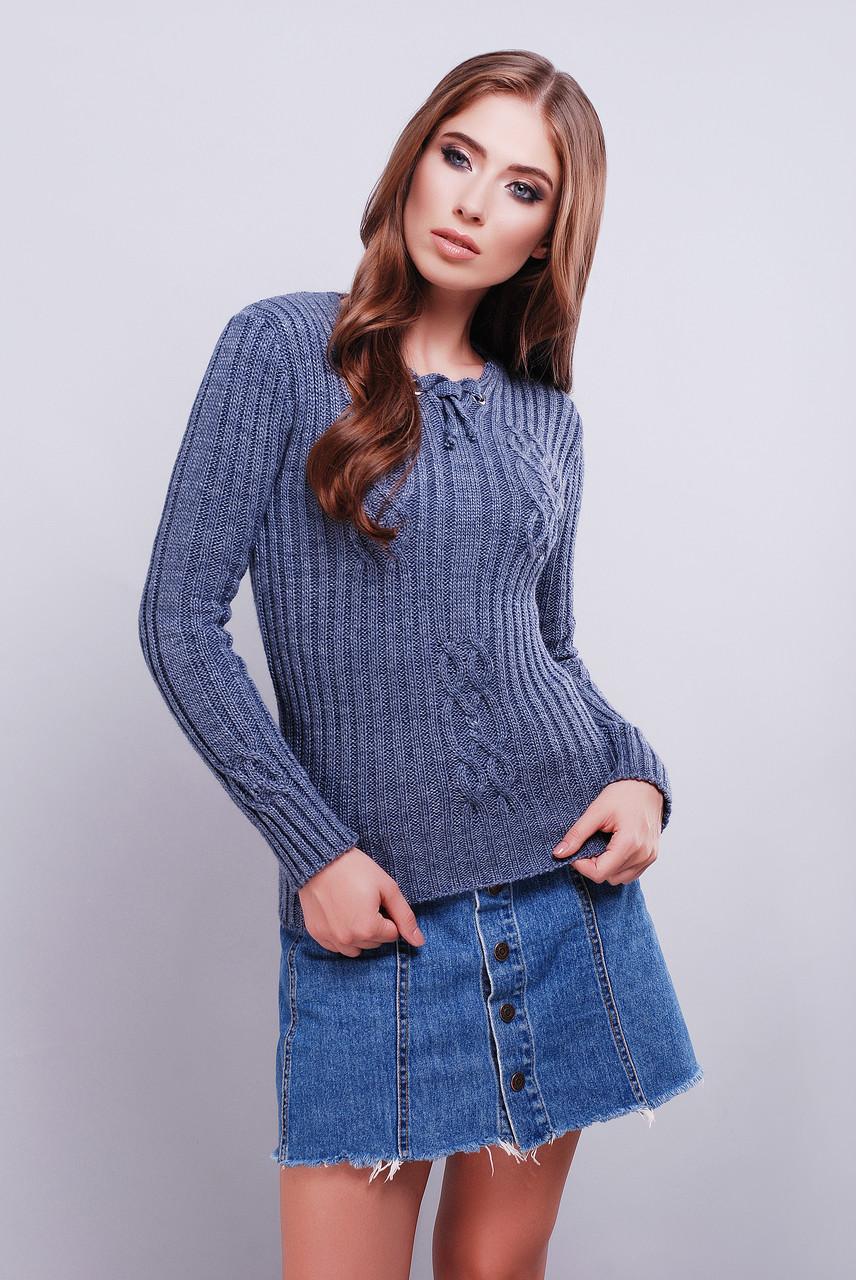 женский вязаный свитер с рисунком по ткани 42 46 фиолетовый купить