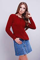 Красивый молодёжный вязаный свитер с рисунком по ткани 42-46 бордо