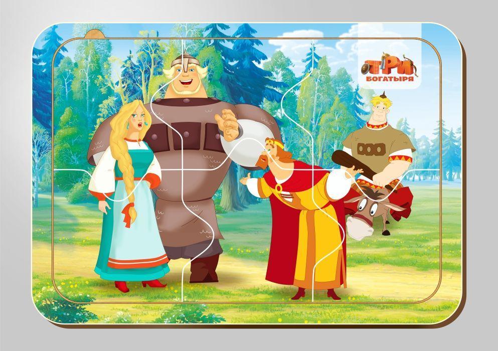 Деревянный паззл, серия «Три богатыря», размер 140*200 мм, 6 деталей, арт. 102211