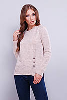 Стильный женский вязаный свитер из мягкой миланжевой пряжи 42-46 серая пудра
