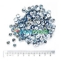 Пайетки с голографическим блеском СЕРЕБРО, 6 мм, 5 г