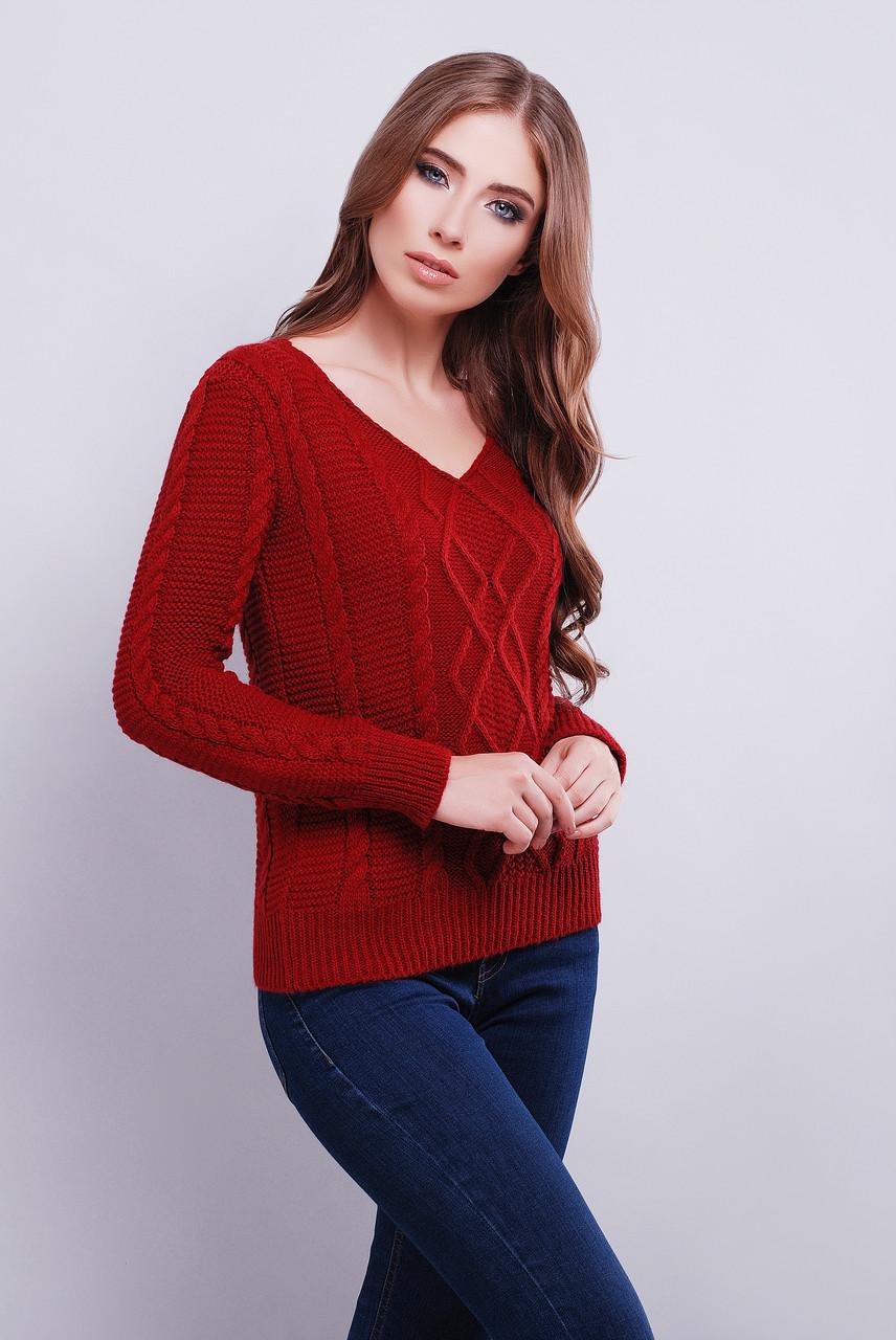 вязаный свитер с V образным вырезом горловины 42 46 вишня купить