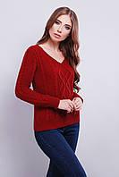 Вязаный свитер с V-образным вырезом горловины 42-46 вишня