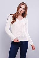 Модный вязаный свитер с V-образным вырезом горловины 42-46 белый