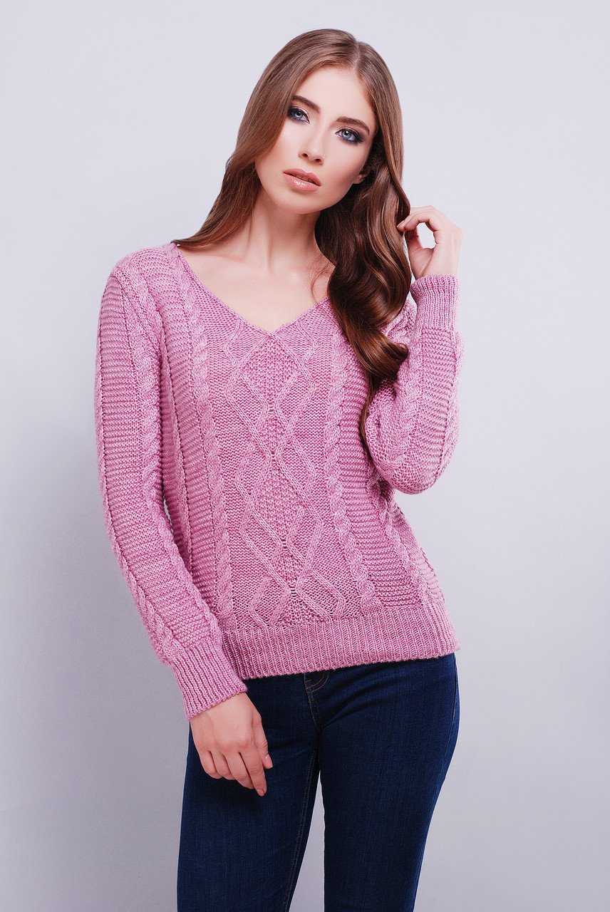красивый вязаный свитер с V образным вырезом горловины 42 46 розовый