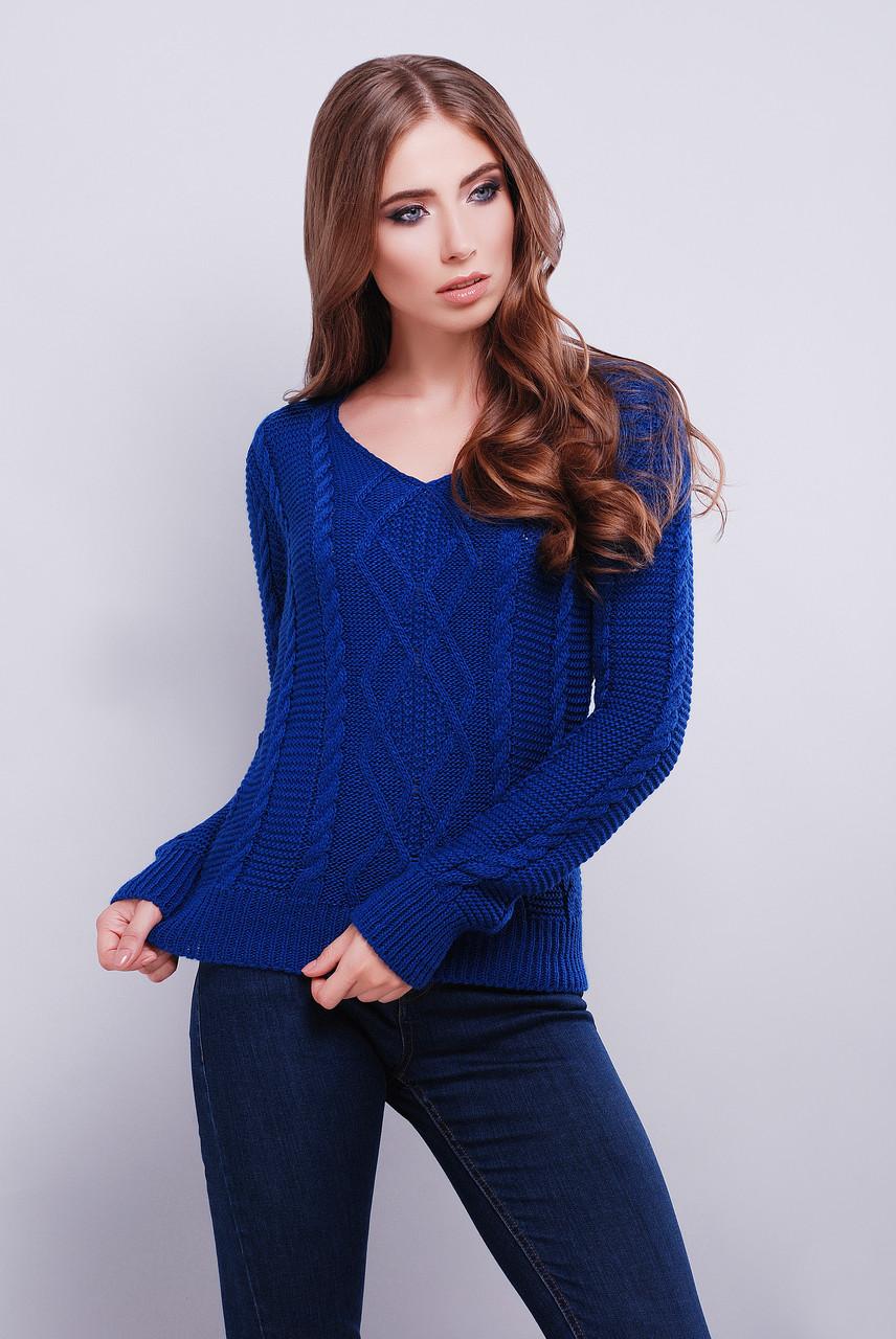 женский красивый вязаный свитер с V образным вырезом горловины 42 46
