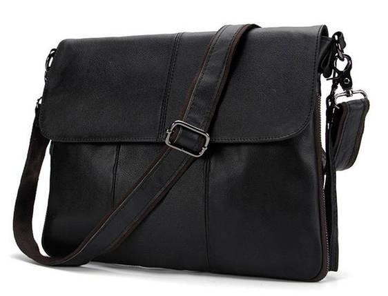 c9b9e387064f Солидная мужская кожаная сумка горизонтальная формата А4 черная (00409),  фото 2