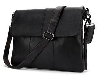 Солидная мужская кожаная сумка горизонтальная формата А4 черная (00409)