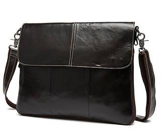 Изящная мужская кожаная сумка горизонтальная формата А4 кофейного цвета (00410)