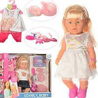 "Кукла пупс ""Lovely baby"" 42см, WZJ013-1-2 аксессуары, пьет-писяет, муыказ, 2 вида, на батар."