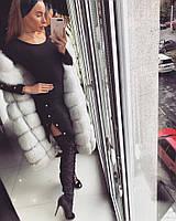 Теплое вязаное платье с разрезами на ногах 1803300