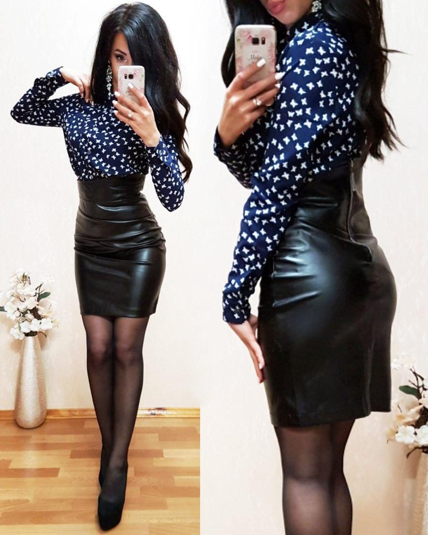 Кожаная женская юбка с завышенной талией (много расцветок) 561121