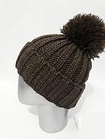 Женская вязаная шапка с помпоном (в расцветках) 120741