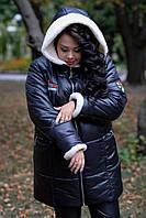 Женская зимняя куртка батал на молнии  с капюшоном 1015241, фото 1
