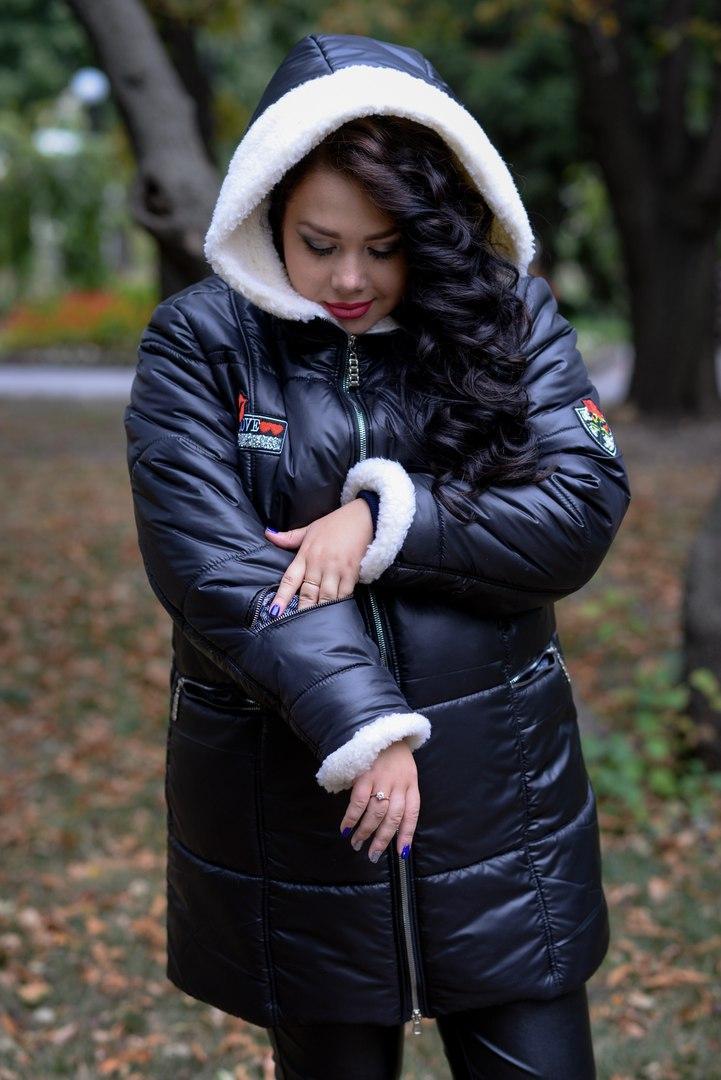 Женская зимняя куртка батал на молнии  с капюшоном 1015241