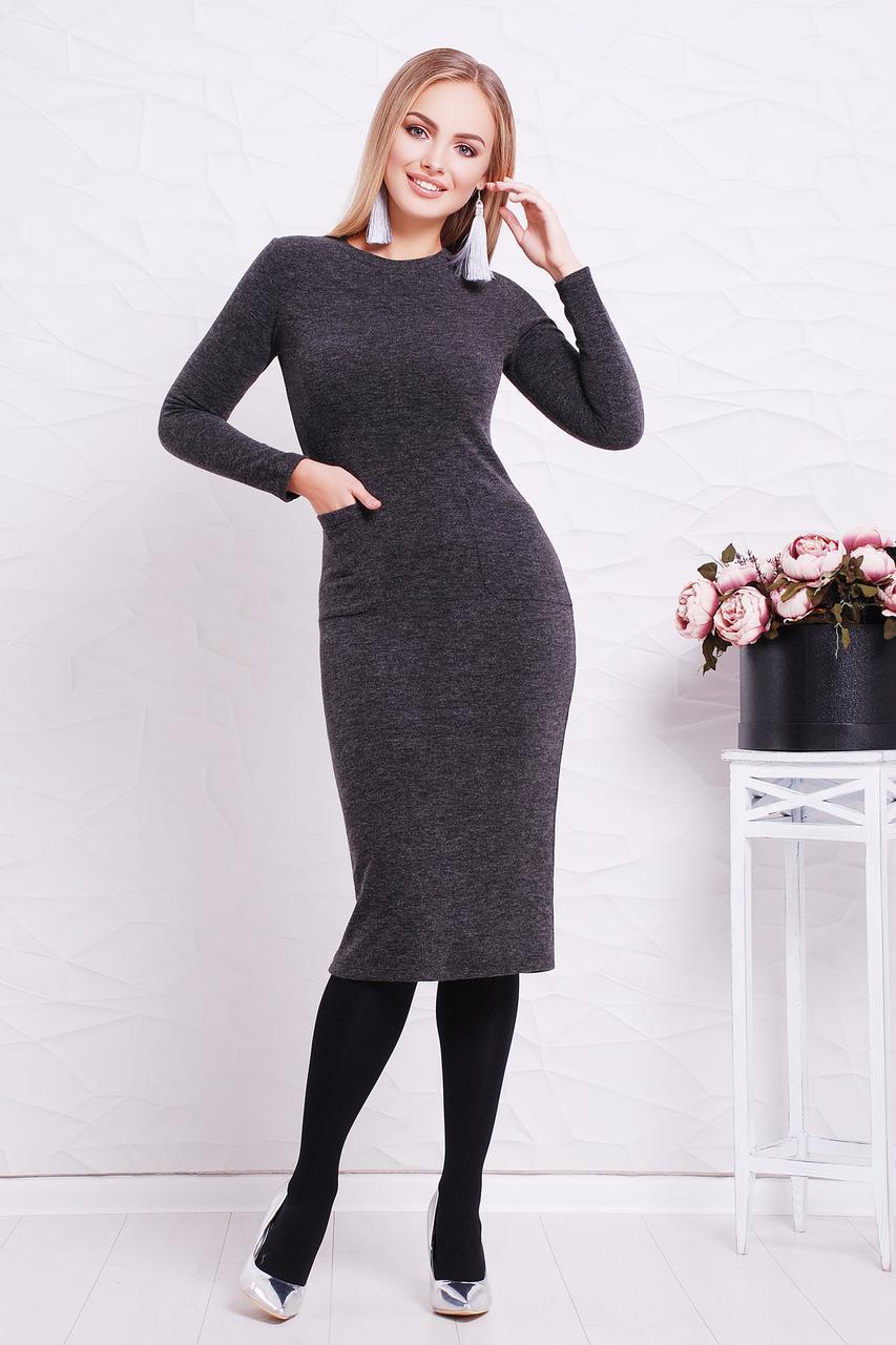 Женское теплое платье, черное, р.S,M,L