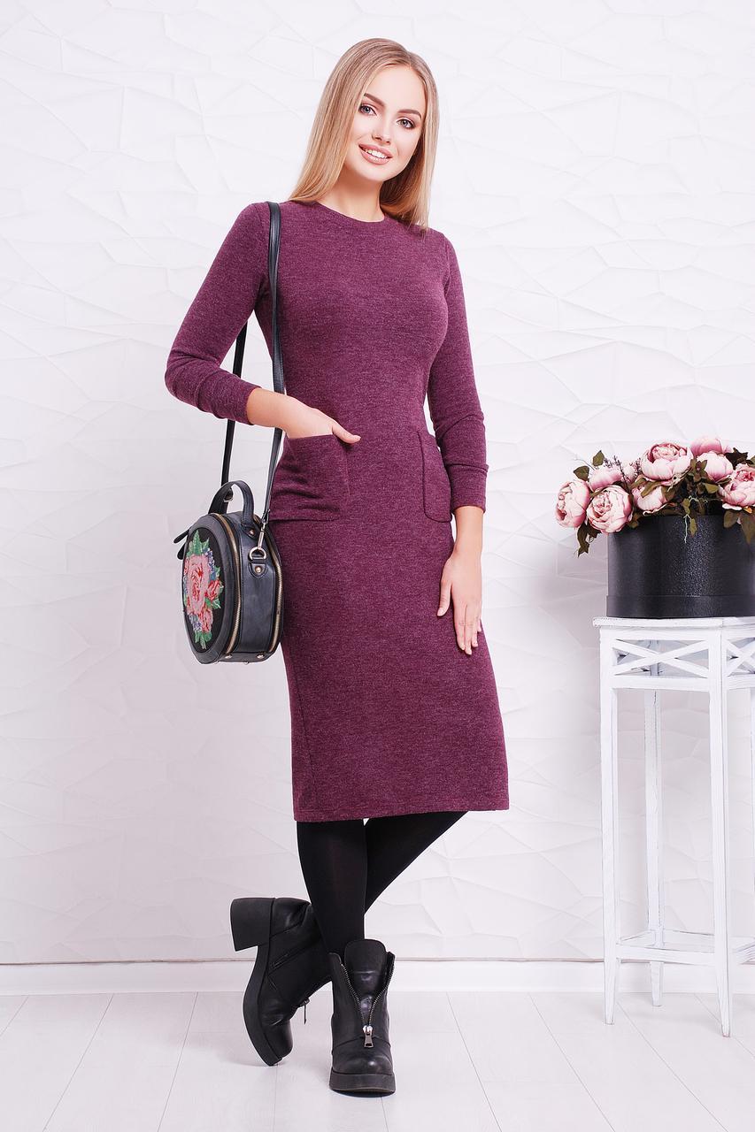 Женское теплое платье, фиолетовое, р.S,M