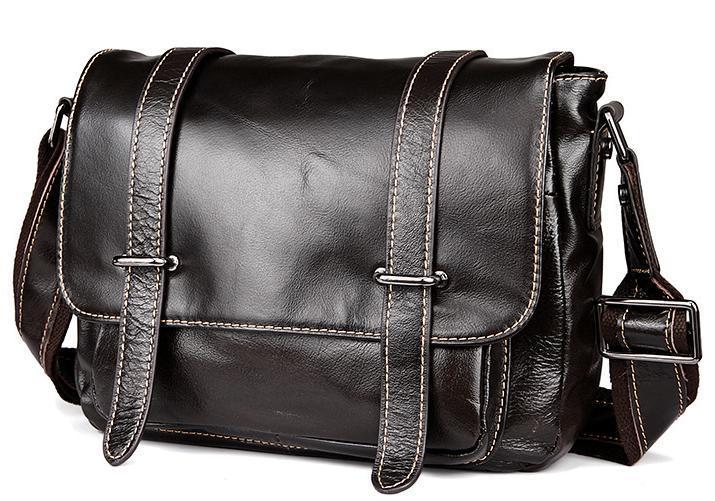 Эксклюзивная мужская кожаная сумка горизонтальная формата с кожаным ре