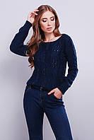 Стильный укороченный вязаный джемпер с изящным плетением в форме косы и перфорацией 44-48 тёмно-синий