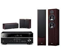 Домашний кинотеатр Yamaha MusicCast RX-V481 (черный), NS-F51/NS-P51 (орех)