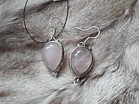 Серьги с розовым кварцем. Серьги с натуральным камнем розовый кварц в серебре. Индия!