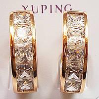 """Серьги кольца """"Дорожка"""" (диаметр 17 мм)с прозрачными фианитами. Ювелирная бижутерия Xuping Jewelry, позолота."""