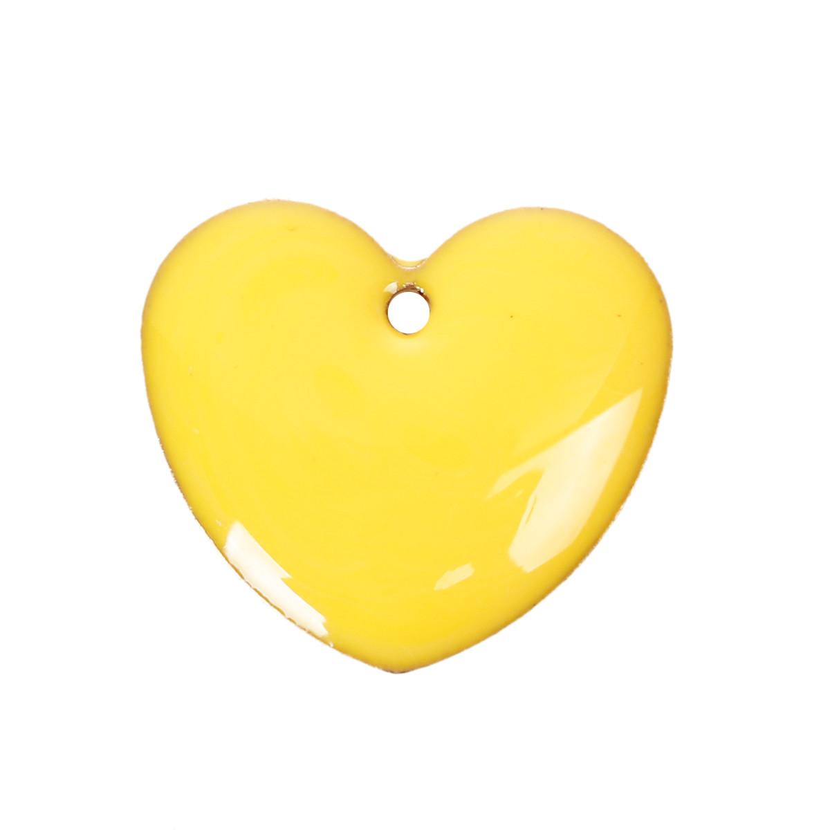 Підвіска Серце, Мідь, Жовта, З емаллю, 16 мм x 16 мм