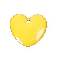 Підвіска Серце, Мідь, Жовта, З емаллю, 16 мм x 16 мм, фото 1