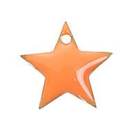 Подвеска Звезда, Медь, Оранжевая, С эмалью, 12 мм x 11 мм