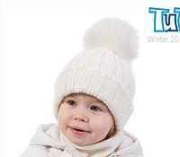 Вязанная шапка 100% шерсть мериноса для девочки