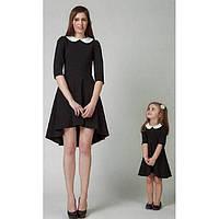 Платье с белым воротничком для мамы и дочки