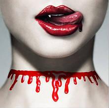 Пластиковое Ожерелье Чокер Хэллоуина В Виде Крови - Красный