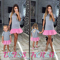 Платье с пышной рюшей для мамы и дочки
