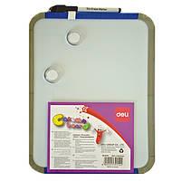 Доски детские для рисования Deli 39154 22х28 пластик рамка, кругл вугли + маркер+ 2 магн Код:388907200