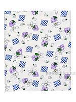 Пеленка фланелевая Татошка П-4 белая с синим Клубничка и цветы 95х115 см
