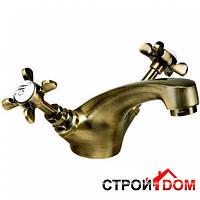 Смеситель для раковины с крестовыми рукоятками Imprese Cuthna antiqua 05280
