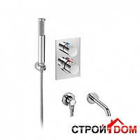 """Встраиваемый хромированный термостат 1/2""""-1/2""""для ванны с регулятором переключателя потока Roca Element A5A2762C00 Хром"""